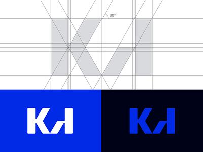 K A Monogram brand identity branding lettermark app icon icon design logo design minimal grid blue monogram logotype logo