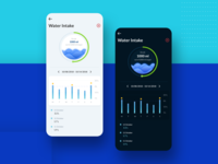 Healthcare app screen for water intake