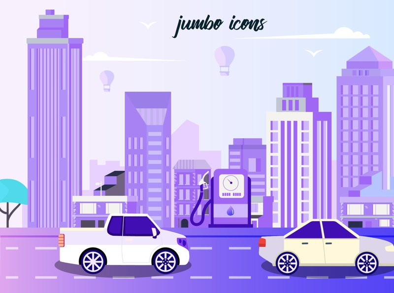 Illustration Made Using Transport Vector Flat Icons
