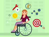 Vector Illustration- Working Women with Special Needs.