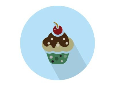 Cherry Cup Cake Flat Vector Icon