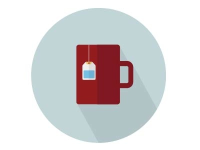 Cup with tea bag flat icon