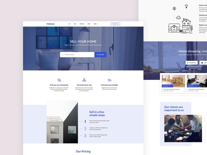 TOGGLE. Realty. estate design ui application app landing