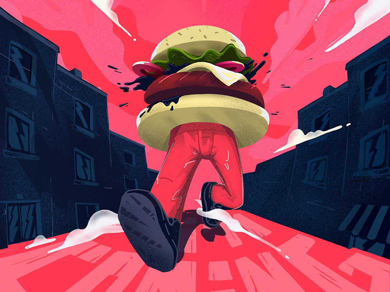 Burger walking in the street 3d design illustration street food pespective ipad procreate sketch cartoon walking burger