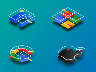 Isometric Icons of Famous Brands