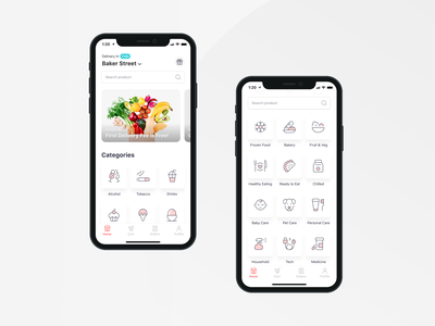 Bringova - Food Delivery Homepage apple iphone 11 pro iphone 11 ios food ecommerce grocery delivery duotone icons categories home white soft branding user experience mobile app ux ui design