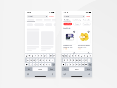 Bringova - Search grocery tab categories ios apple iphone 11 food delivery listing product card search result search bar typing search iphone x mobile app ux ui design