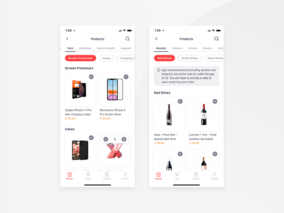 Bringova - Listing Page food and drink groceries discover add to cart product card apple segment product listing listing age limit categories iphone 11 pro iphone 11 ios user experience iphone x mobile app ux ui design