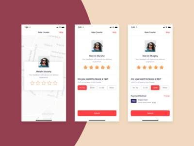 Bringova - Rate Courier & Leave a Tip order track map iphone 11 add tip tipping rating food app driver star tip courier review rate ios user experience iphone x mobile app ux ui design