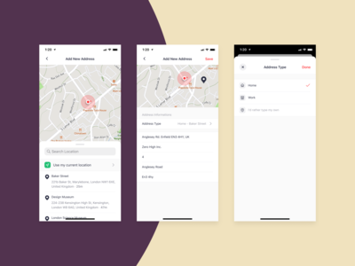 Bringova - Add New Address current location add search map location choose modal stack native app address type create add new address addresses add new ios user experience iphone x mobile app ux ui design
