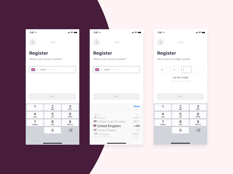 Bringova - Register login iphone 11 pro digit number onboarding select country mobile form resend sign up register phone number form design form ios user experience iphone x mobile app ux ui design