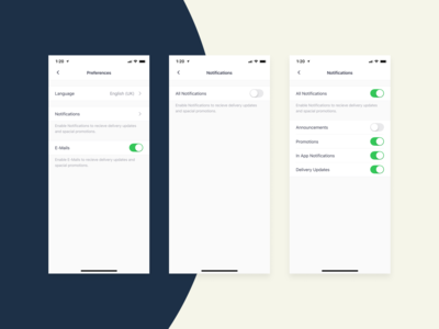 Bringova - Preferences & Notification Settings updates clean button toggle switch preferences settings control iphone 11 pro native app language notification apple ios user experience iphone x mobile app ux ui design