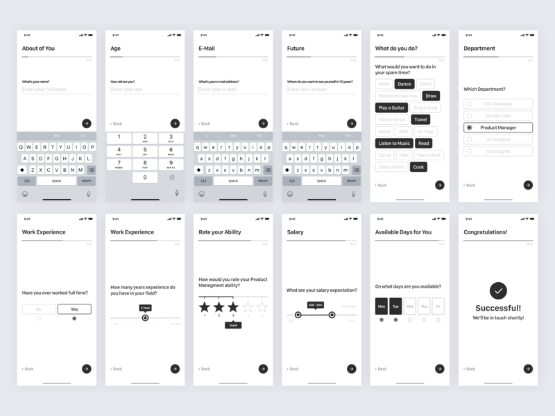 Job Application - Mobile Survey Wireframe question quiz wireframe ux user experience ui typeform survey mobile survey job iphone x ios human resources form design form employee design card apply app