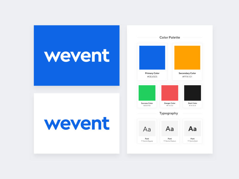Wevent Branding color card ui kit project android app ios app style guide brand style guide white brand style app logo graphic design branded blue event mobile application design color palette logo branding brand