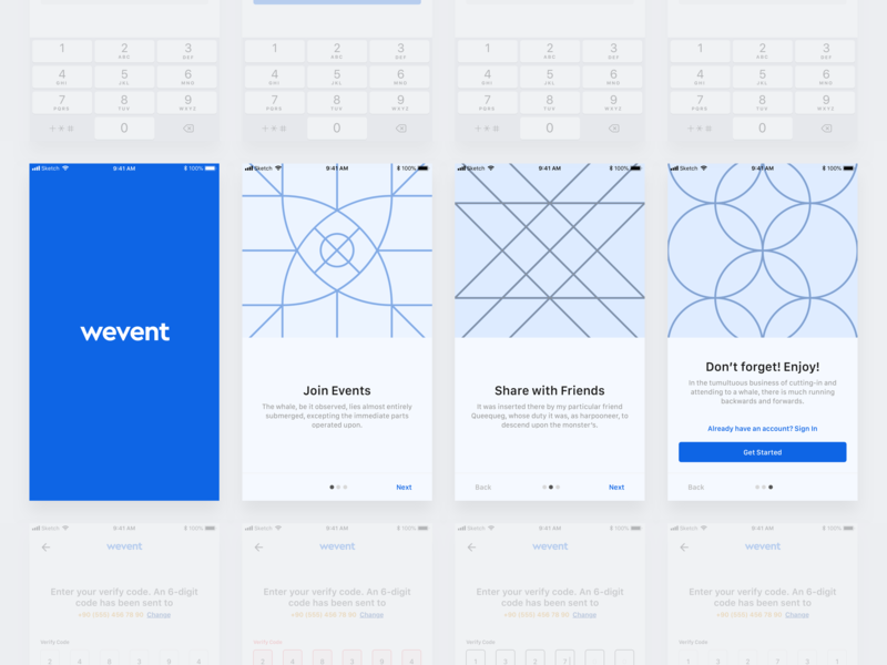 Wevent Onboarding mobile onboarding mobile app design sign up sign in login pages ios app onboarding screen user experience user interface ux ui design wireframe mobile app flowchart onboarding flow event app onboarding event