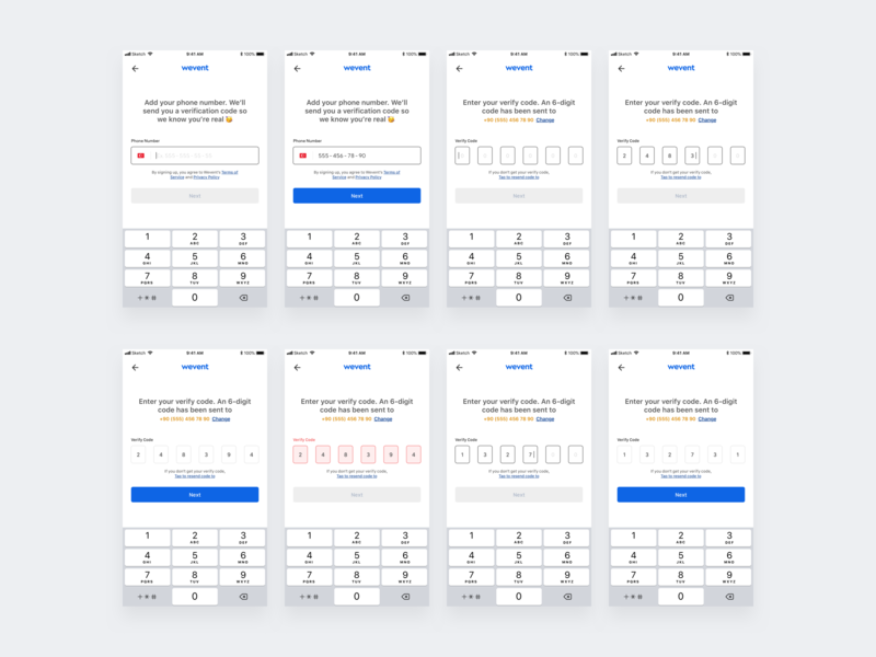Wevent - Register with Phone Number ios app mobile app design wireframe flow chart design style guide mobile app register form register sign up sign in user experience user interface ux design ui design design form placeholder survey event app event