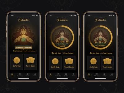 Faladdin - Home Screens [ Fortune Teller Mobile App Concept ]