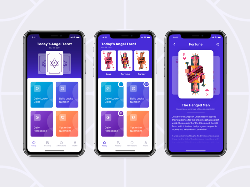 Astral Angel - Angel Tarot Cards Fortune App interaction detail lucky horoscope concept component home tarot app ux ui design daily tarot card fortune teller fortune app iphone x ios mobile app app angel