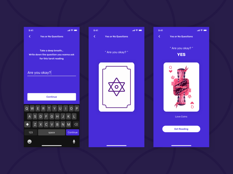 Astral Angel - Yes or No Question [ Fortune App ] apple placeholder quiz magic ask gamification card deck tarot card iphone 11 pro iphone 11 form design horoscope fortune teller mobile survey user experience mobile app iphone x ux ui design