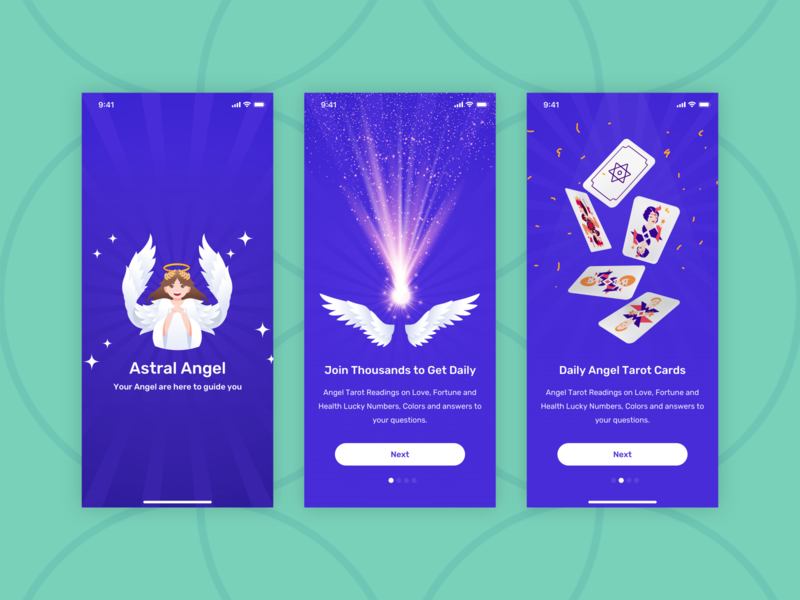Astral Angel - Onboarding Screens [ Fortune App ] horoscope magical glow step marketing iphone 11 iphone 11 pro angel card deck purple user experience onboarding walkthrough magic fortune teller mobile app iphone x ux ui design
