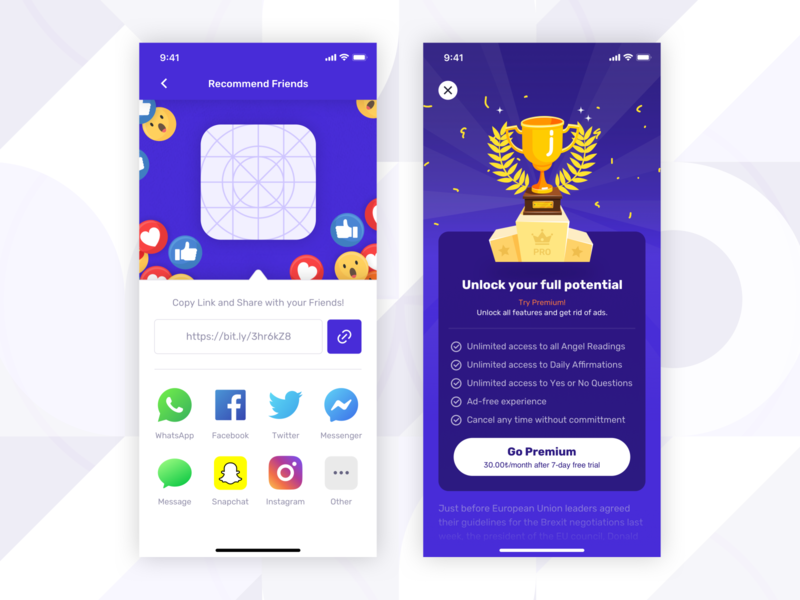 Recommend & In App Purchase Screens [ Fortune App ] iphone 11 pro recommendation social gamification purchase update copy link share fortune teller iphone x mobile app ux ui user experience design mobile apple iap in app purchase recommend