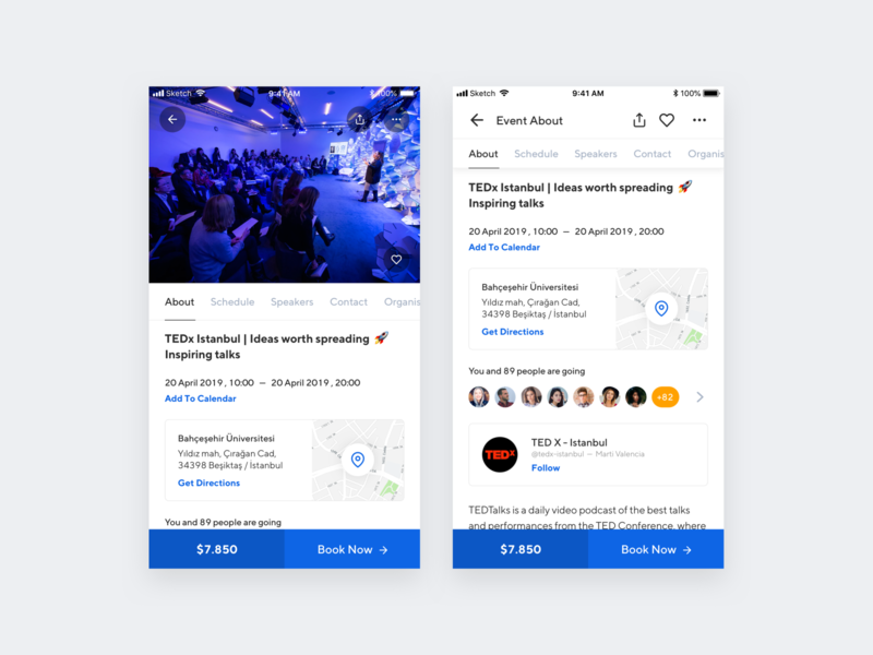 Wevent - Event Page schedule event planner tedx buy ticket flow ios 13 component event detail booking book meetup meeting event user experience iphone x mobile app ux ui design