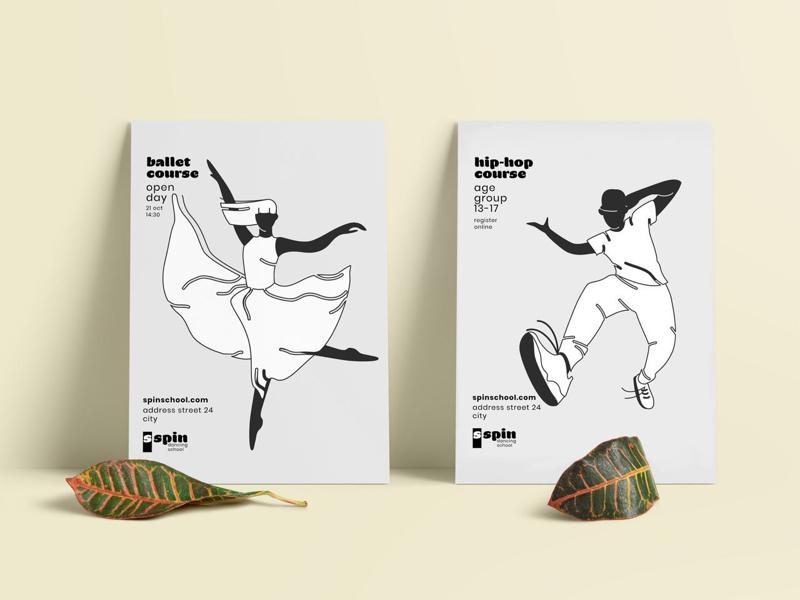 Dance school posters print branding logo brand identity dance school posters outline illustration dance