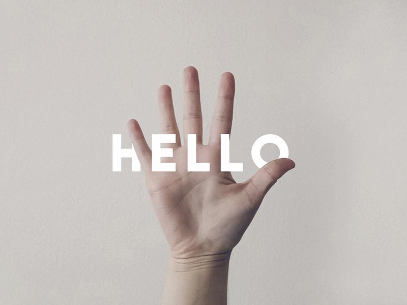 Hello again pale white graphic design hand clean neutral logo type minimal hello wave
