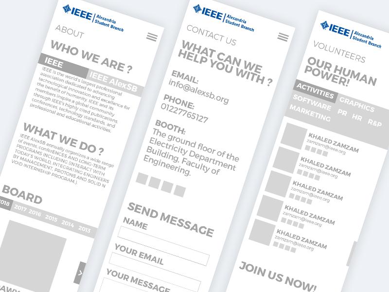 IEEE AlexSB Main Website screen mobile ux app speakers alex ieee website main event