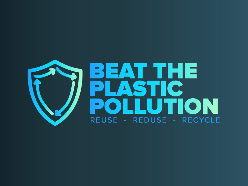 Beat The Plastic Pollution | United Nations Camp blue gradient 2d branding logo recycle reduse reuse pollution plastic beat