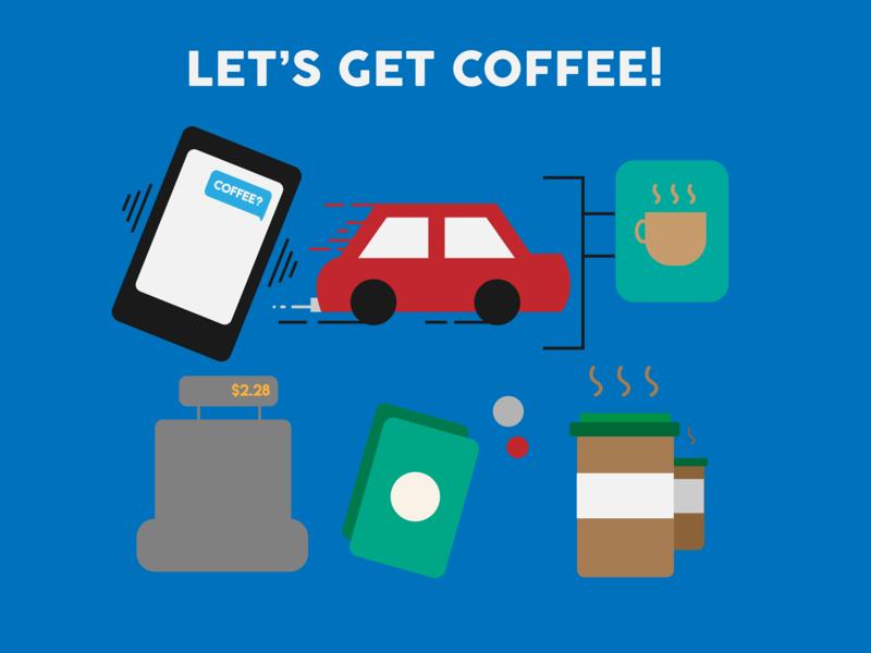 Let's Get Coffee! coffee icon logo branding flat design vector illustration