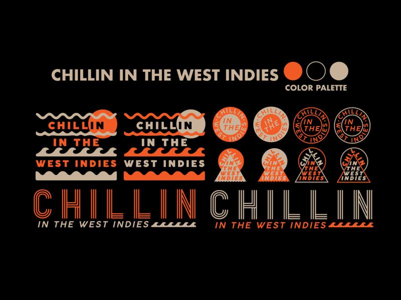 Chillin in the West Indies apparel design typography logo branding flat design vector illustration