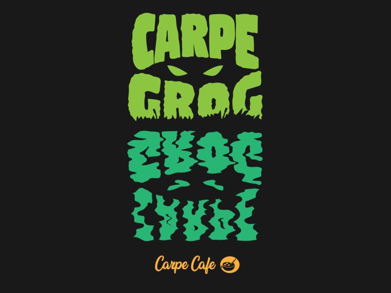 Carpe Grog coffee typography branding flat vector illustration design