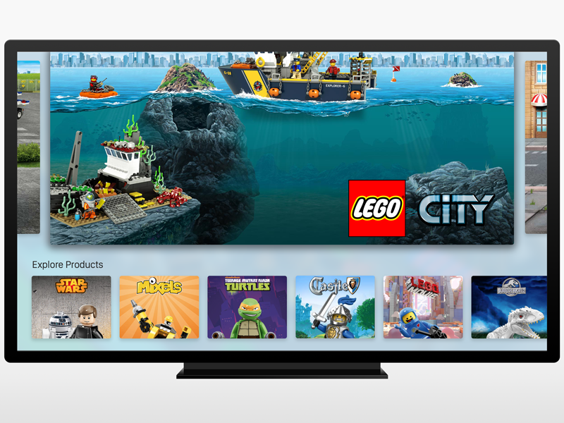 LEGO Apple TV App - Home screen catalog concept tv apple lego