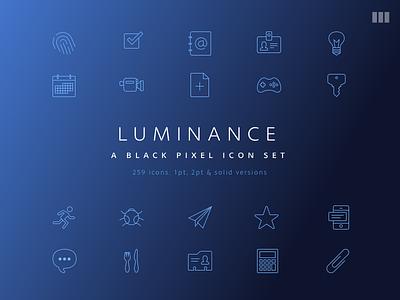 Luminance, A Black Pixel Icon Set set resource icons icon freebie free line icon svg png pdf bpxl black pixel