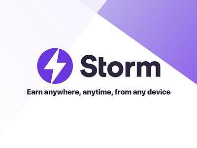 Storm Logo cryptocurrency crypto violet purple branding identity logo