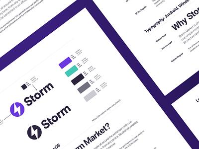 Storm Identity System teal violet purple cryptocurrency crypto design system identity branding typogaphy logo