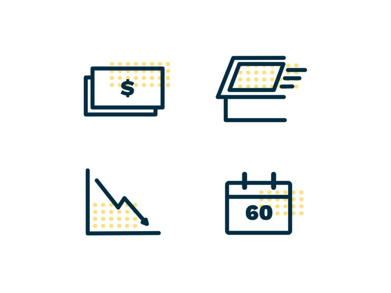 Icons for Solar Power Website branding design illustration simple solar
