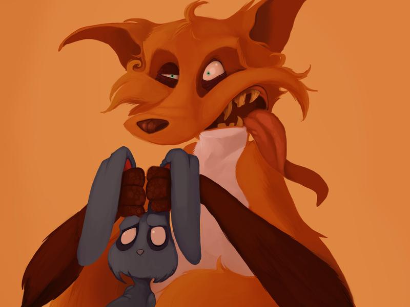 Fox color arte zorro digital art digitalart digital bunny illustration fox