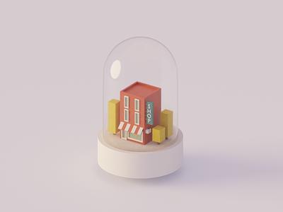 Shop glass shop tree store building house design illustration 3d