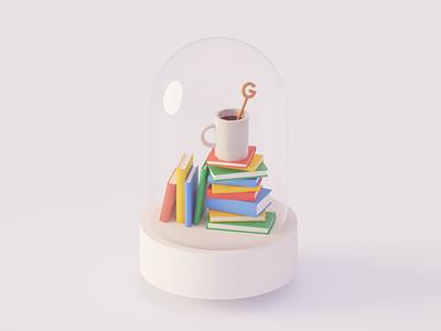 Books & Coffee coffee book branding logo design illustration 3d