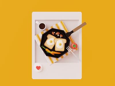 Brunch like post instagram photo table carrot tomato mushroom egg coffee toast bread design 3d brunch