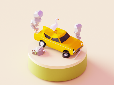 Oh no! accident car goose design illustration 3d