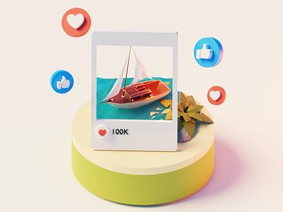 Vacation boat water tree 3d design illustration