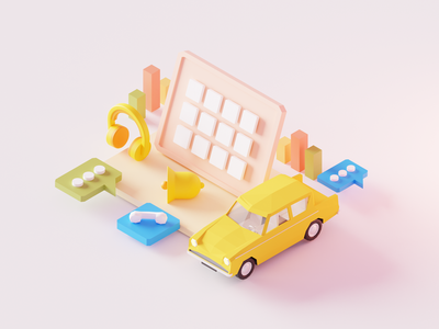 Driver's Distraction message app music player car notification design 3d illustration