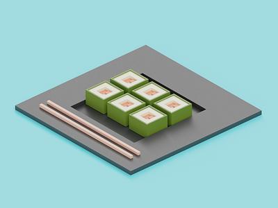 Sushi salmon sushi design 3d