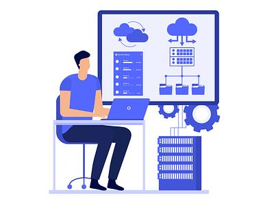Database Development coding developments vector character database migration development business data analytics data illustration