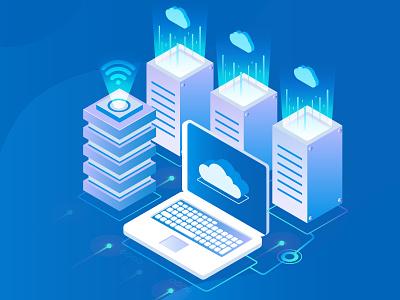 Cloud Hosting data analytics charackter vector wordpress data hosting data isometric illustration hosting isometric cloud isometric cloud hosting cloud