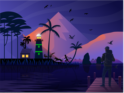 Island Point Lighthouse dark river nature river charachter vector nature hill man see nature island point lighthouse natureboy journy island lighthose light house nature illustration