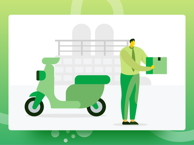 Your Delivery Is Ready bike bike man road bikecycle delivery bike delivery service delivery delivery service online delivery isometric business illustration
